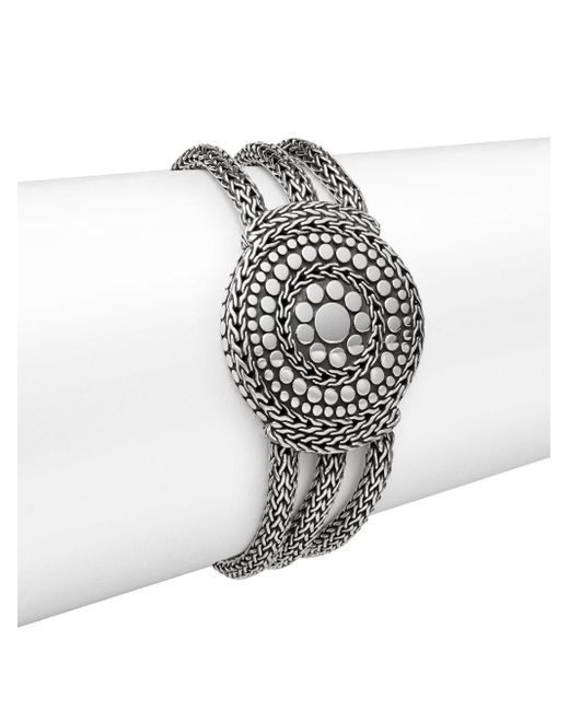 John Hardy - Metallic Dot Sterling Silver Medallion Three-row Chain Bracelet - Lyst