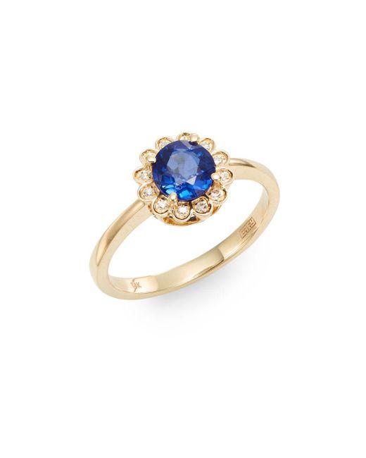 Effy | Blue Final Call Sapphire, Diamond & 14k Yellow Gold Ring | Lyst