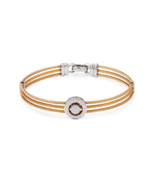 Alor - Metallic Stainless Steel, 18k White Gold & Diamond Multi-strand Bracelet - Lyst