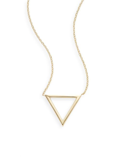 Saks Fifth Avenue - Metallic Ophol 14k Yellow Gold Triangle Pendant Necklace - Lyst