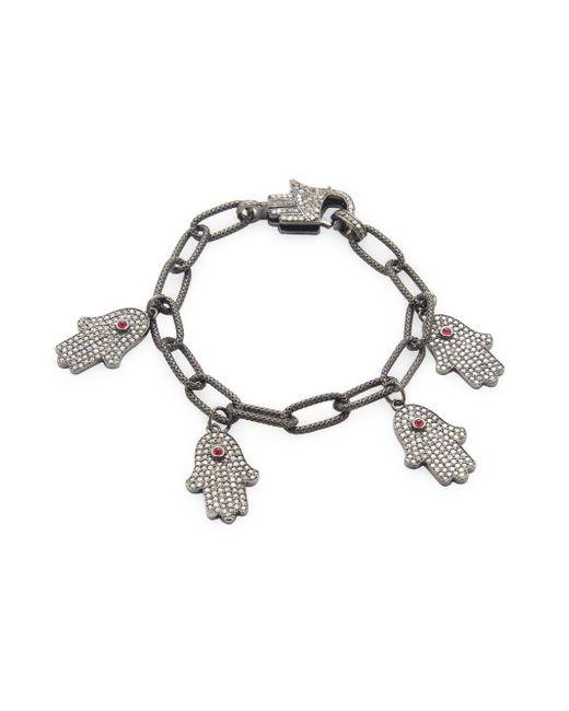 Arthur Marder Fine Jewelry - Metallic Sterling Silver, Ruby & Champagne Diamond Hamsa Hand Bracelet - Lyst