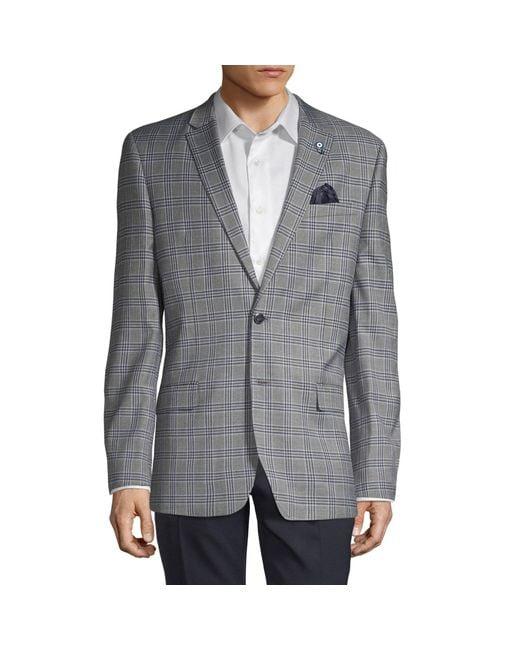 Ben Sherman Gray Plaid Notched Sportcoat for men