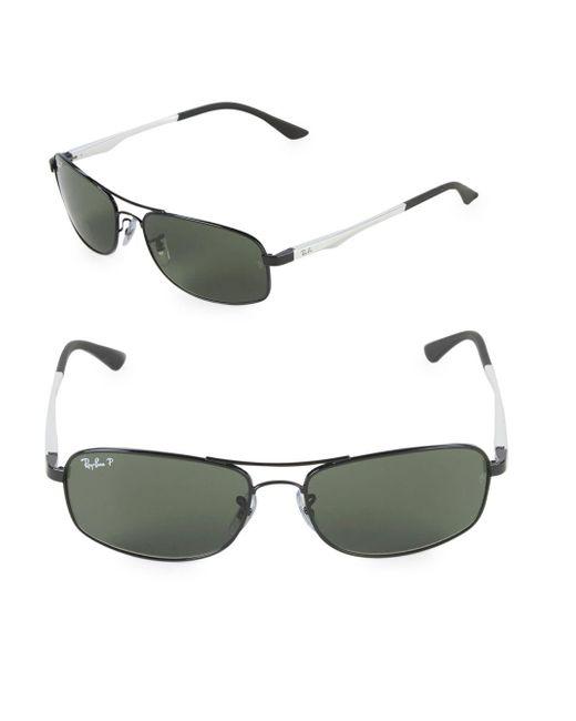 Ray-Ban - Black 60mm Rectangle Aviator Sunglasses - Lyst