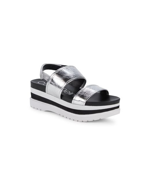 Calvin Klein Women's Grey Nola Platform Leather Slingback Sandals