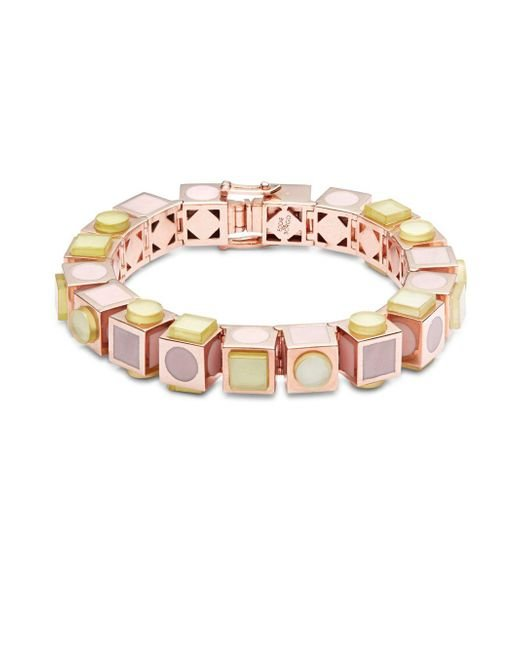 Eddie Borgo | Multicolor 12k Rose Gold-plated Mosaic Cube Bracelet | Lyst