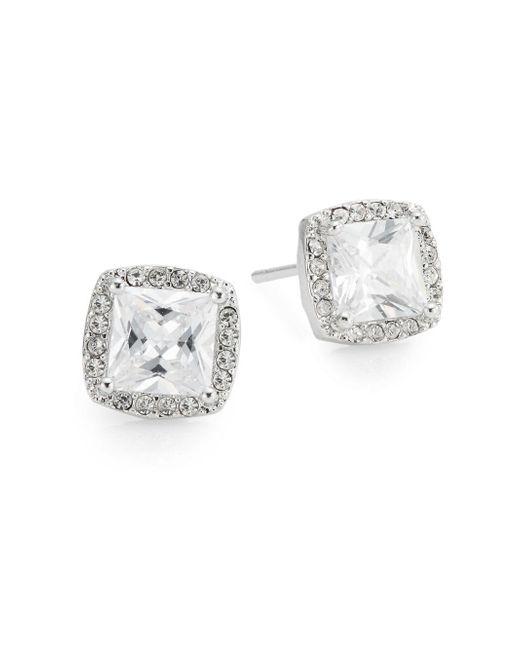 Saks Fifth Avenue - Metallic Pavé Halo Square Stud Earrings - Lyst