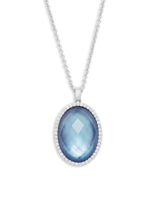 Roberto Coin - Diamond, Blue Topaz, Mother-of-pearl, Ruby And 18k White Gold Pendant Necklace - Lyst