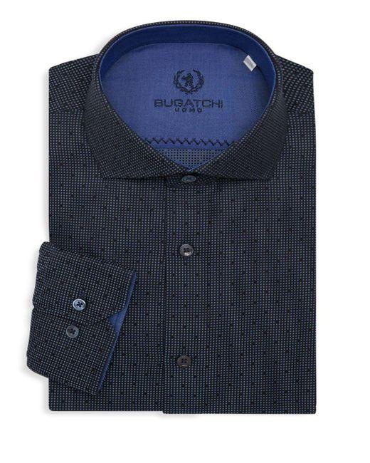 Bugatchi Blue Shaped-fit Textured Dress Shirt for men