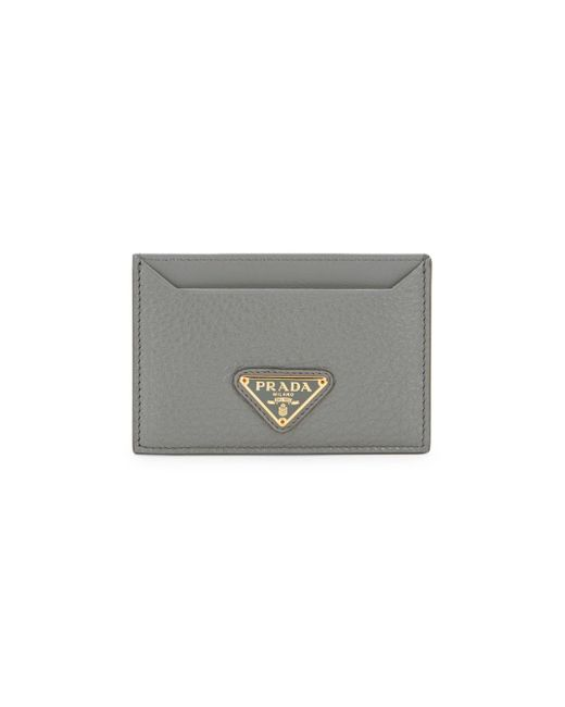 Prada Gray Logo Grained Leather Card Case