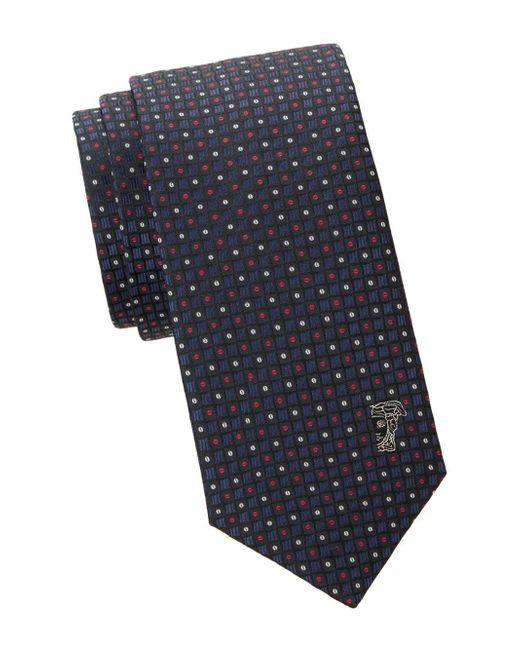 Versace Blue Geometric Silk Tie for men