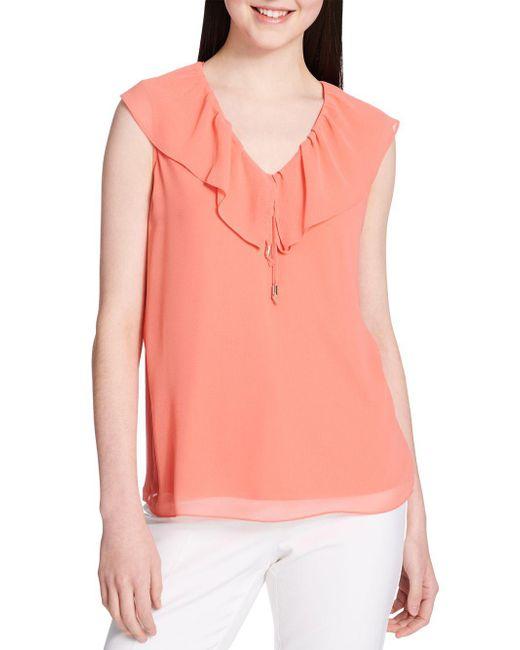 39e88007e765d Lyst - Calvin Klein Ruffle V-neck Top in Pink