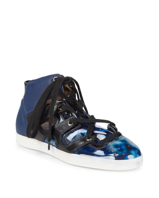 Emporio Armani - Blue Mixed Media High-top Sneakers - Lyst