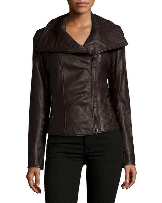 MICHAEL Michael Kors | Brown Leather Zipped Jacket | Lyst