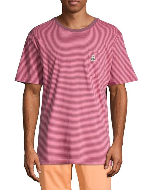 Psycho Bunny Pink Stripe Cotton Pocket Tee for men