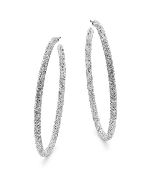 Adriana Orsini - Metallic Cubic Zirconia Hoop Earrings - Lyst