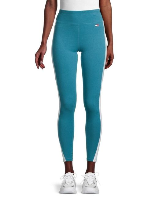 Tommy Hilfiger Blue Women's High-rise Side Stripe Leggings - Turquoise - Size S