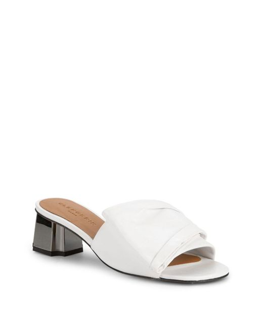 Clergerie - White Ruched Leather Slides - Lyst