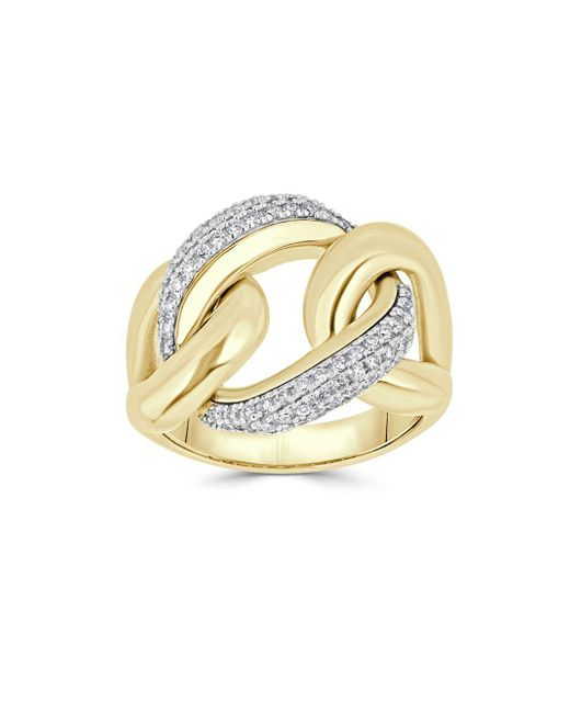 Saks Fifth Avenue - Diamond And 14k Yellow Gold Link Ring - Lyst