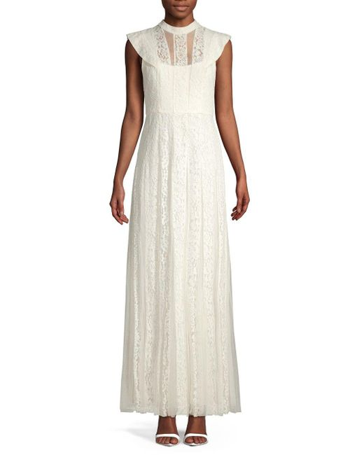 BCBGMAXAZRIA White Lace Tulle Gown