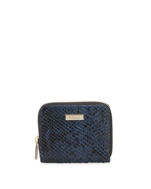 Furla - Blue Snake Print Leather Zip-around Wallet - Lyst