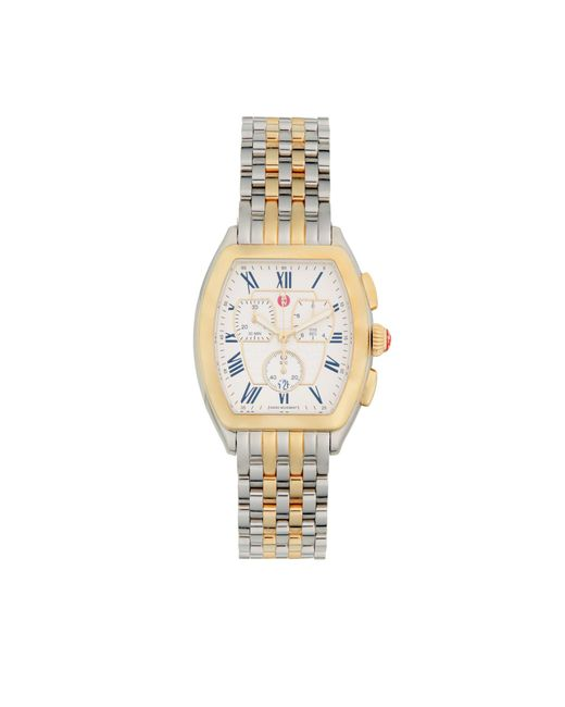 Michele Metallic Two-tone Stainless Steel Chronograph Watch