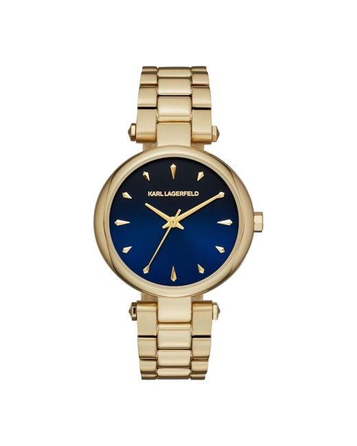 Karl Lagerfeld Metallic Aurelie Yellow Goldtone Stainless Steel Three-hand Bracelet Watch