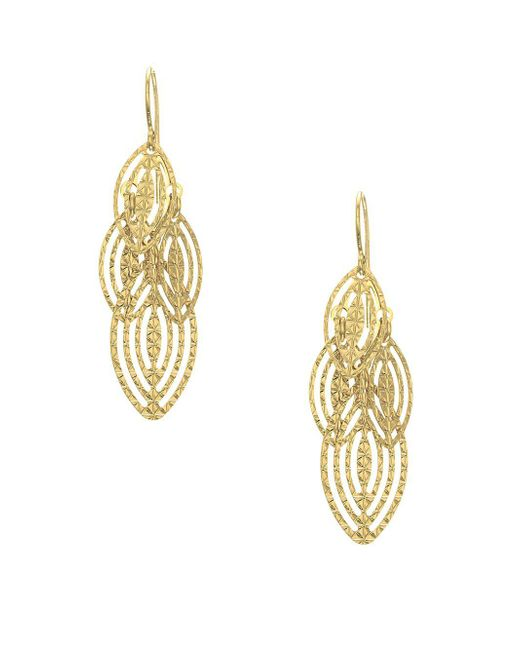 Saks Fifth Avenue - Metallic 14k Yellow Gold Tiered Leaf Earrings - Lyst