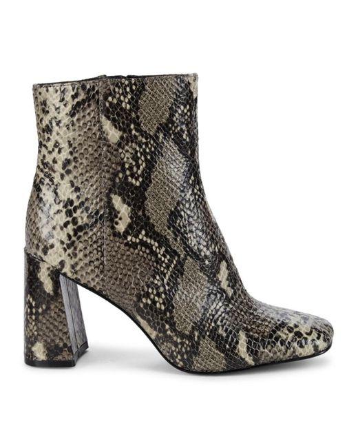 Charles David Women's Teigan Snakeskin-print Booties - Black Snake Print - Size 5