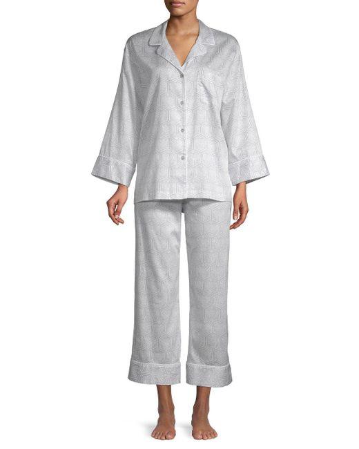 Natori Gray 2-piece Printed Cotton Pajama Set