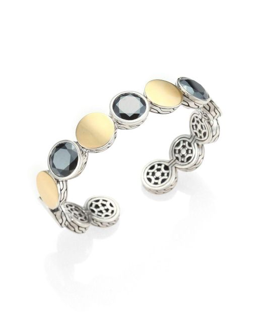 John Hardy - Black Hematite, 18k Yellow Gold & Sterling Silver Dot Cuff Bracelet - Lyst