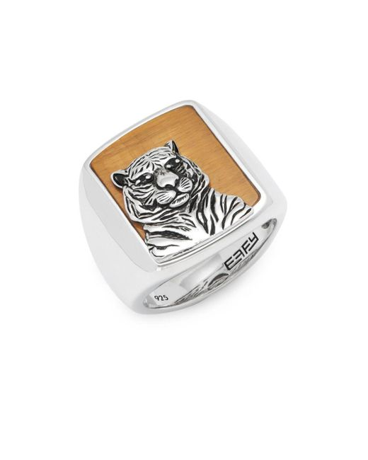 Effy - Metallic Tiger's Eye And Sterling Silver Band Ring - Lyst