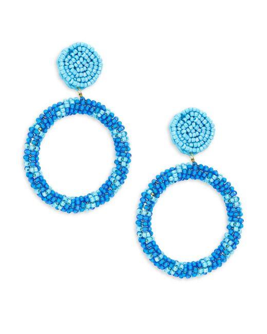Panacea Blue Seed Bead Gypsy Hoop Earrings
