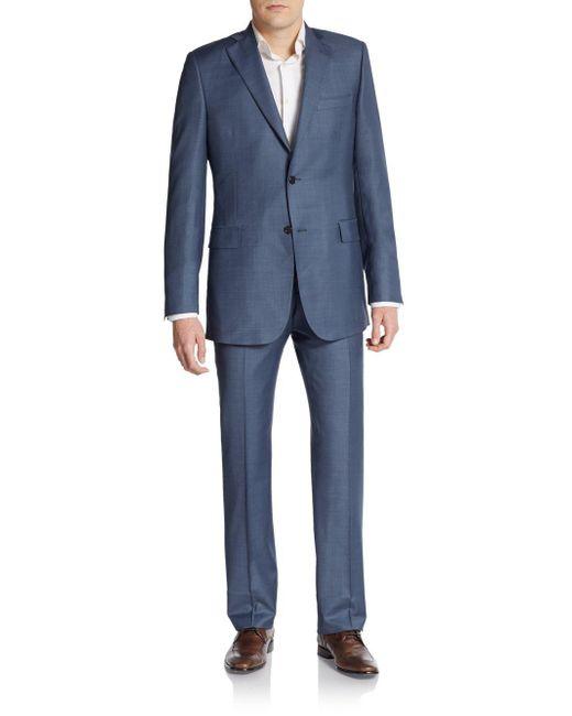 Saks Fifth Avenue - Blue Slim-fit Wool Sharkskin Suit for Men - Lyst