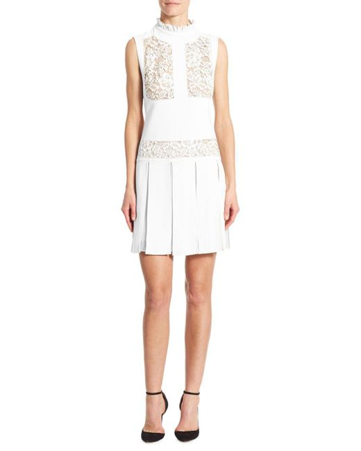 Elie Saab - White Lace-inset Pleated Day Dress - Lyst