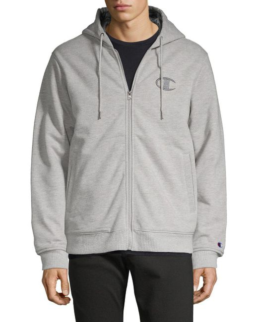 Champion - Gray Embroidered Logo Fleece Hoodie for Men - Lyst