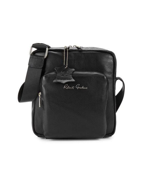 Robert Graham Men's Cubism Leather Shoulder Bag - Black for men