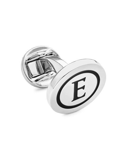 Tateossian Metallic Initial E Rhodium-plated Cufflink for men