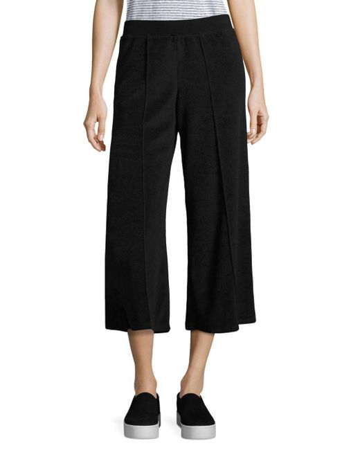 ATM - Black Terry Cropped Wide Leg Pants - Lyst
