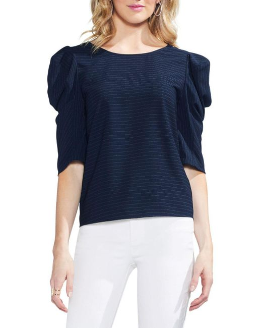 Vince Camuto - Blue Novelty Shirting Soft Pinstripe Puffed Statement Shoulder Top - Lyst