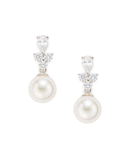 Majorica - 10mm White Pearl & Crystal Drop Earrings - Lyst