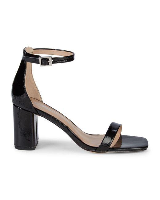 BCBGeneration Black Talia Patent Stack Heel Sandals