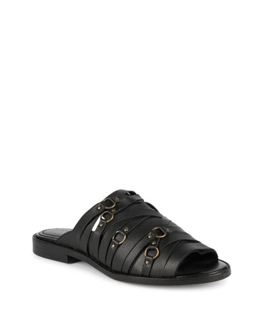 Kelsi Dagger Brooklyn - Black Classic Leather Flat Sandals - Lyst
