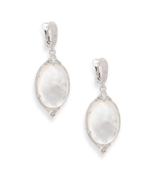 Judith Ripka - Metallic Allure White Sapphire, Rock Crystal, Mother-of-pearl & Sterling Silver Oval Drop Earrings - Lyst