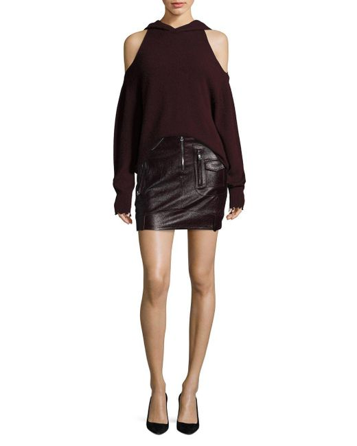 159edbe58e8 RTA - Black Gisele Leather Moto Skirt - Lyst ...