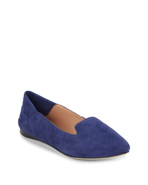 Sigerson Morrison - Blue Valentine Solid Slip-on Leather Flats - Lyst