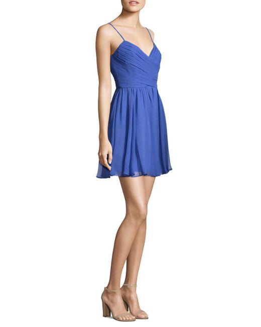 BCBGMAXAZRIA - Blue Woven Evening Dress - Lyst