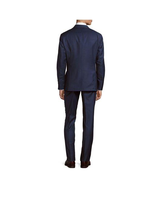 Saks Fifth Avenue Blue Modern-fit Solid Wool Suit for men