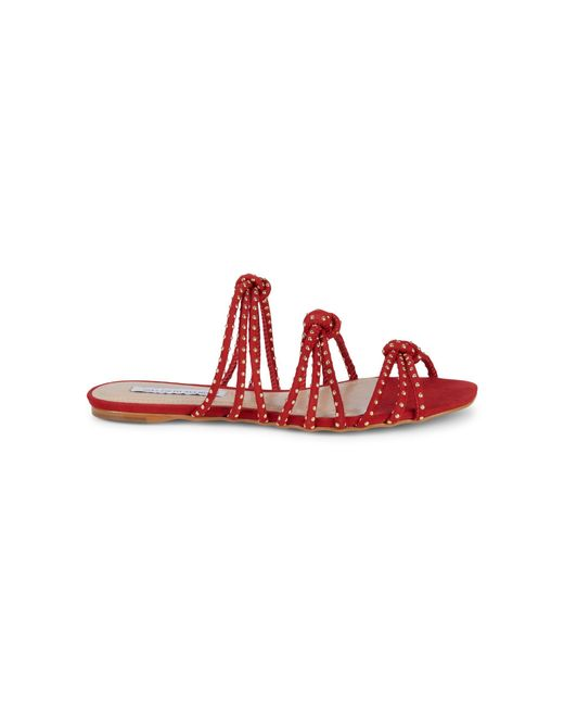 Saks Fifth Avenue Red Studded Knot-strap Suede Slides