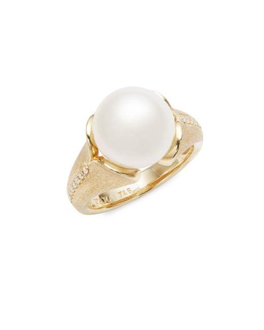 Tara Pearls | 14k Yellow Gold, White Round Freshwater Pearl, And Diamond Ring | Lyst