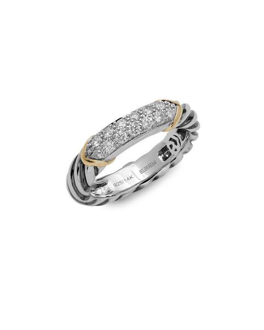 Effy - Metallic Twisted Sterling Silver & Diamond Ring - Lyst